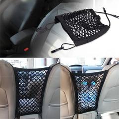 Universal Nylon Car Storage Net Pocket Hooks Hanging Elastic Rope Mesh Bag black one size