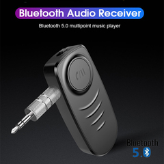Portable Car Bluetooth 5.0 Audio Receiver 3.5mm AUX Wireless Bluetooth Adapter with HD Mic black one size