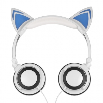 Kilimall: 3.5mm Wired Cat Ear Foldable Flashing Earphone white 338964