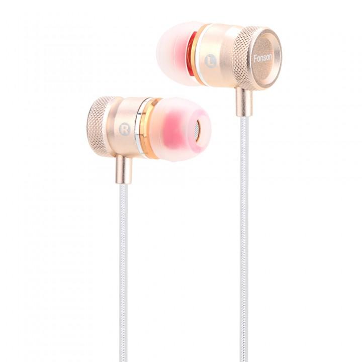 FONSON In Ear 3.5mm Stereo Music Bass Earphone gold