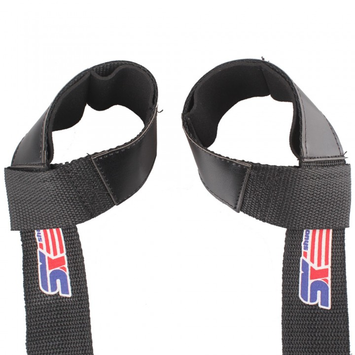 2 pcs Weight Lifting Barbell Hand Wrist Bar Support Gym Strap Body Building Black one size