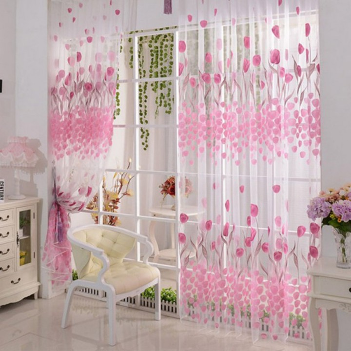 2Pcs Tulip Floral Pattern Window Door Voile Curtain Window Drape Room Divider Window Treatments Pink 100*200cm