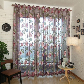 European Big Flower Pattern Half Shading Burnt-out Curtain Window Screening Pastoral Voile Curtains Burgundy 250  * 96cm