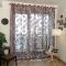 European Big Flower Pattern Half Shading Burnt-out Curtain Window Screening Pastoral Voile Curtains Burgundy 250  * 96cm