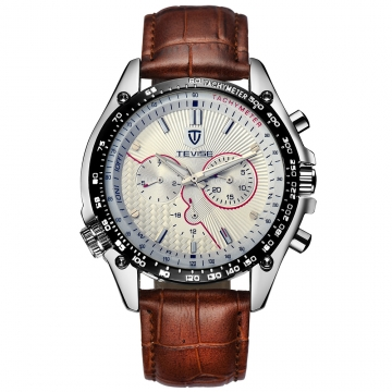 TEVISE Men Fashion Watch Full Steel Glass Military Semi-automatic Mechanical Self-winding Watch White+Brown as described