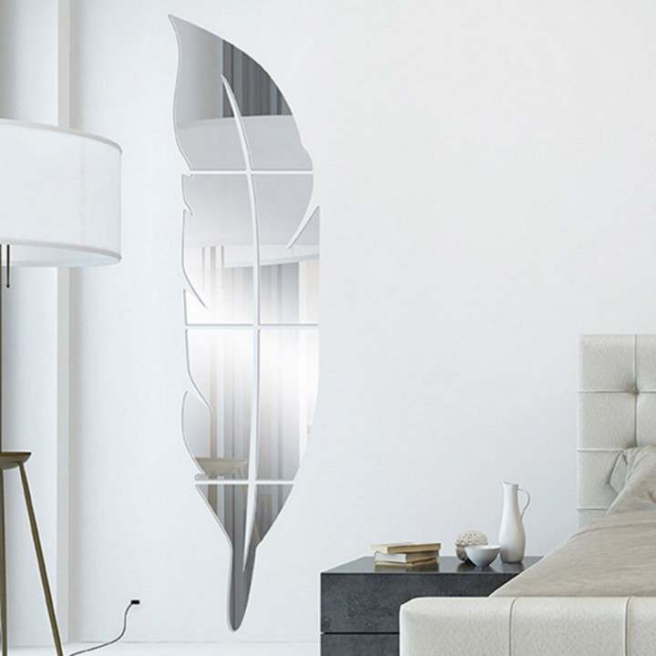 Removable Adhesive 3D Feather Mirror Stick Decal Home Party Decoration Art Mural Stickers DIY White one size