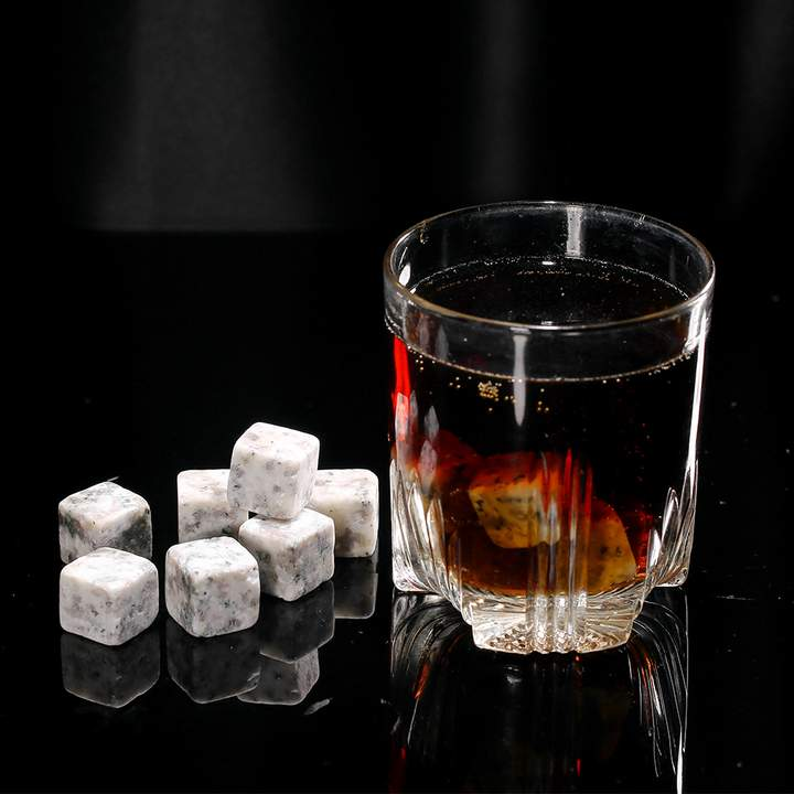 Anself 12pcs 20mm Whisky Ice Stones Drinks Cooler Cubes Beer Rocks Granite with Pouch Light  Gray one size