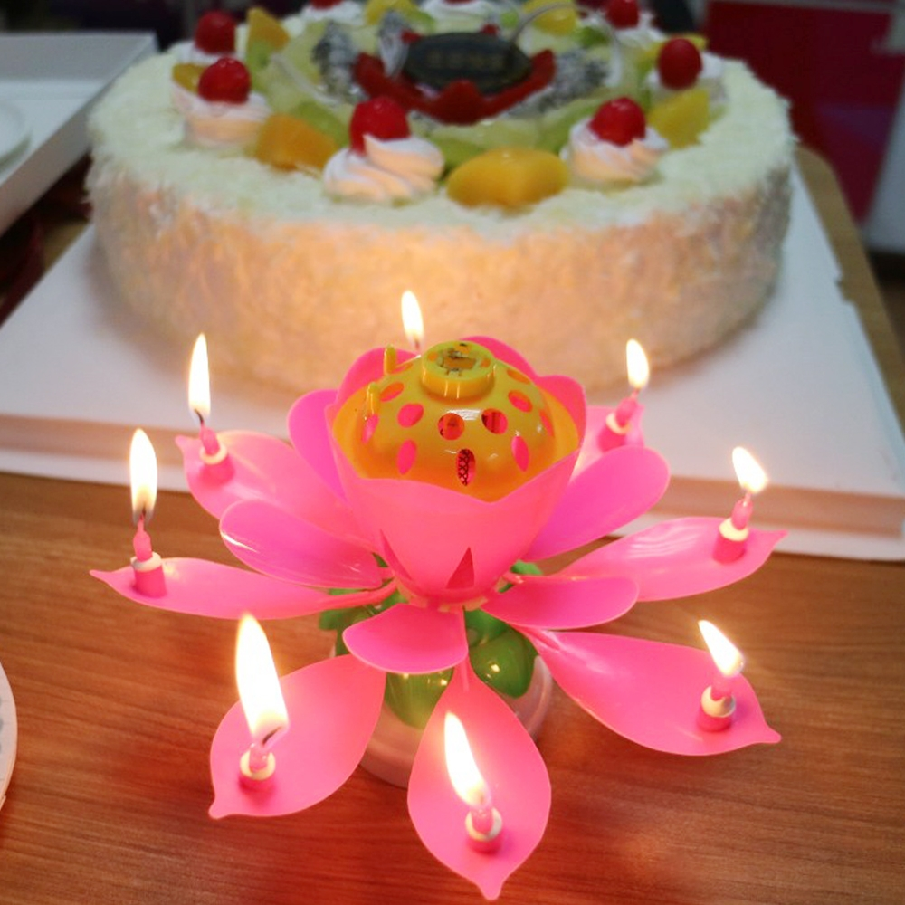 Music Lotus Flower Candle Musical Happy Birthday Rotating Blossom