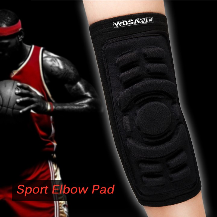 Wosawe Elastic Gym Sport Basketball Arm Sleeve Elbow Support Pads Elbow Protector Guard Sport Safety black one size