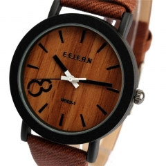 Fashion Leather Strap Simulation Wooden Men/Women Quartz Watch Unisex Wrist Watch BROWN 20