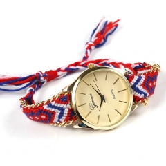 Women Girl Ladies Quartz Watch Fashion Hand-Woven Rope Bracelet WristWatch red