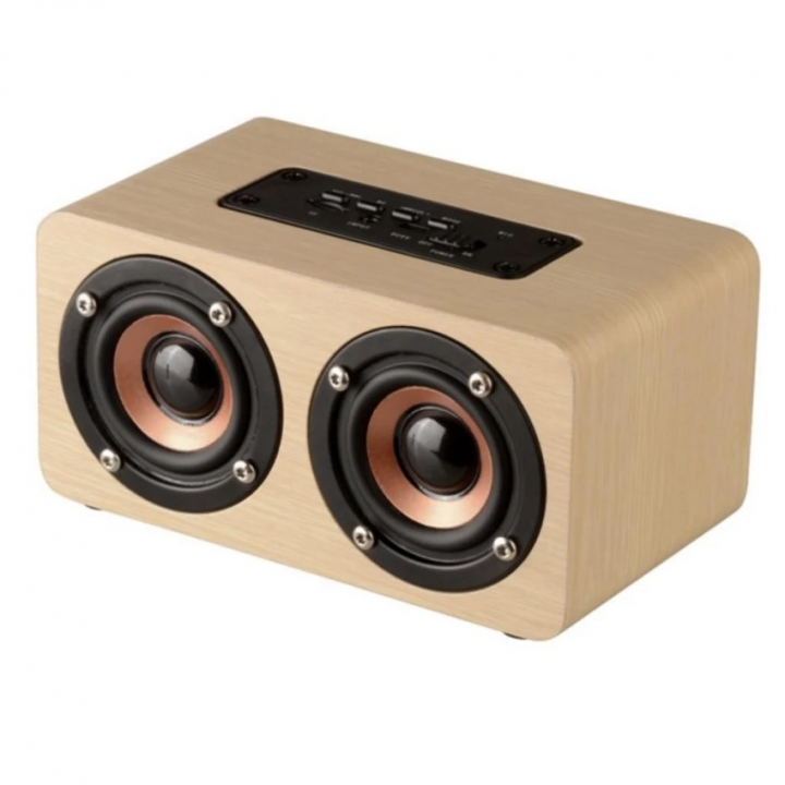 Wooden Wireless Bluetooth Speaker Portable HiFi Shock Bass TF Soundbar For Smart Phone yellow 13cm*10cm*8cm