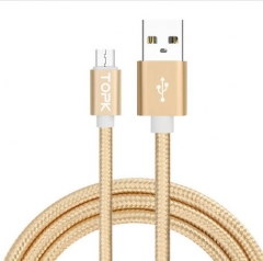 iPhone Android Phone Data Cable Ultra Durable Nylon Wire Metal Plug Data Sync Charging Micro USB GOLD 1M