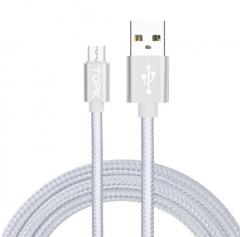 Ultra Durable Nylon Wire Metal Plug Data Sync Charging Micro USB Data Cable For iPhone/Android Silver 1M