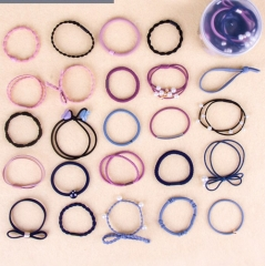 24 Pcs/Set Fashion Hair Ropes Set Korea Simple Hair Band Headwear Ribbon Hair Ring Accessories Color Mixing One Size