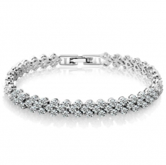 Roman Fashion Women Bracelet Female Crystal Bracelet Ring Exquisite Luxury Jewelry Lover Gift Silver 16.5cm