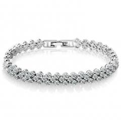 Roman Fashion Women Bracelet Female Crystal Bracelet Ring Exquisite Luxury Jewelry Lover Gift Silver 16.5cm