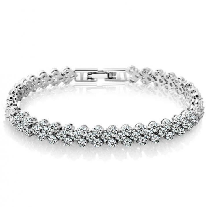 Roman  Fashion Women Bracelet Female Crystal Bracelet Ring Exquisite Luxury Jewelry Diamond Silver 16.5cm