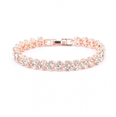 Roman  Fashion Women Bracelet Female Crystal Bracelet Ring Exquisite Luxury Jewelry Diamond Rose Gold 16.5cm