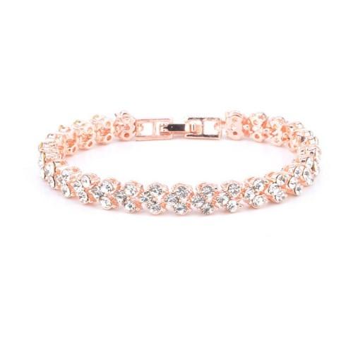 Roman Fashion Women Bracelet Female Crystal Bracelet Ring Exquisite Luxury Jewelry Lover Gift Rose Gold 16.5cm