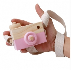 Kids Wooden Camera Toys Cute Hanging Room Decor Furnishing Articles Baby Birthday Gifts pink 8cm