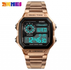 SKMEI Men Sports Watches Count Down Waterproof Watch Stainless Steel Fashion Digital Wristwatches Gold 20