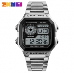 SKMEI Men Sports Watches Count Down Waterproof Watch Stainless Steel Fashion Digital Wristwatches Silver 20