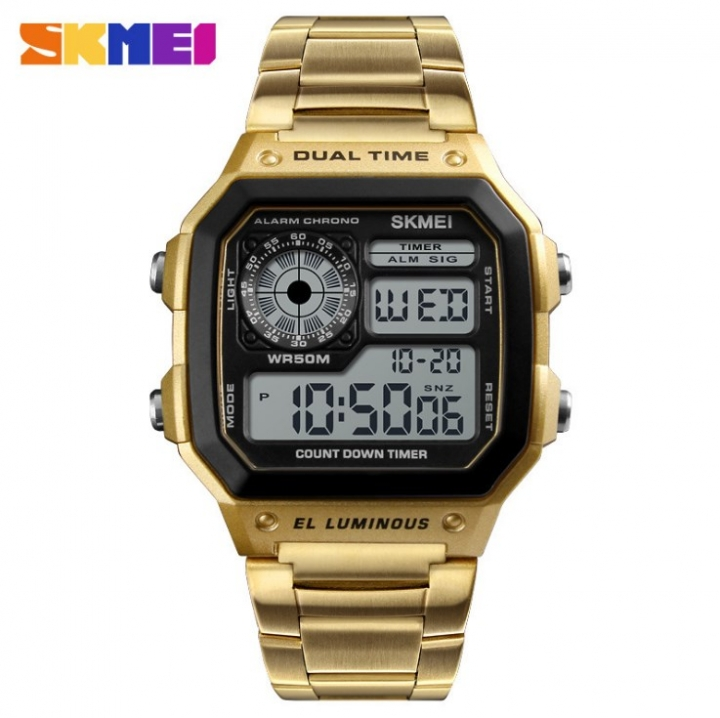 SKMEI Men Sports Watches Count Down Waterproof Watch Stainless Steel Fashion Digital Wristwatches Gold 20