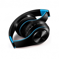 New Wireless Bluetooth Headset Stereo Headphones Earphones With Microphone Support TF Card black+blue