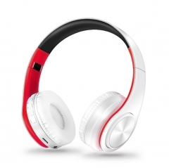 New Wireless Bluetooth Headset Stereo Headphones Earphones With Microphone Support TF Card white+red