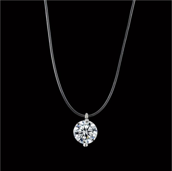 Women Necklace Fashion Jewelry Transparent Fishing Line Necklace Rhinestone Choker Pendant Gift silver 40cm