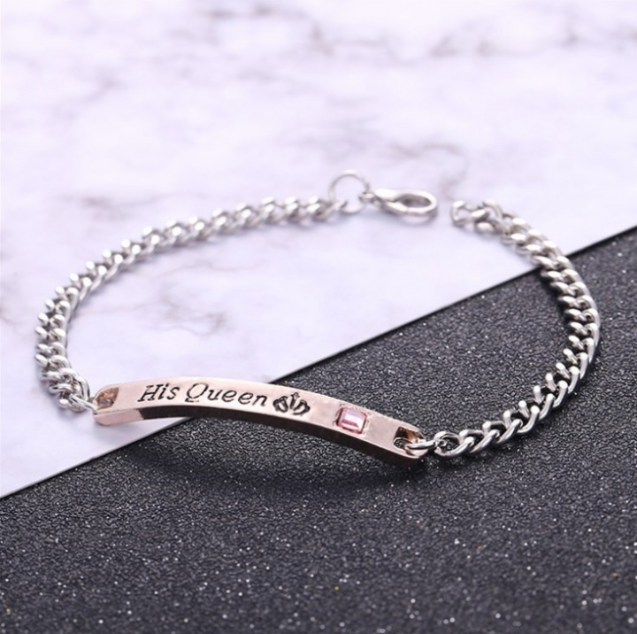 His Queen Her King Women's/Male Chain Crystal Couple Bracelet For Men/Female on Hands Jewelry His Queen 22cm