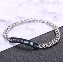 Men Bracelets Women Bracelets Chain Crystal Couple Bracelet On Hands Jewelry For Lovers Gift Her King 22cm
