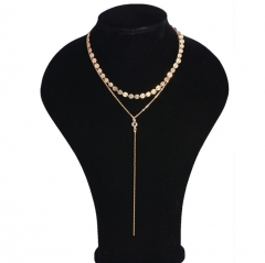 Women Necklaces Sexy Multilayer Sequins Rhinestone Tassel Chain Choker Collar Necklace Jewelry Gift gold 40cm