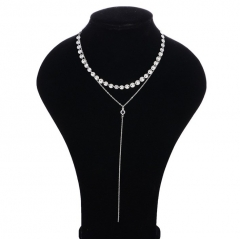 Sexy Multilayer Sequins Rhinestone Tassel Pendants Chain Necklace Choker Collar Women Jewelry silver 40cm