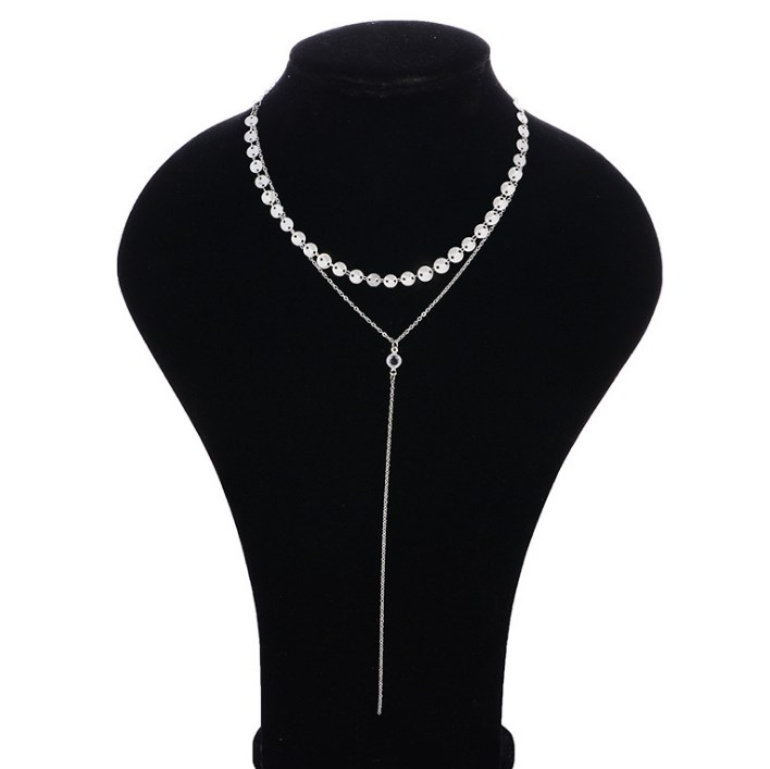 Women Necklaces Sexy Multilayer Sequins Rhinestone Tassel Chain Choker Collar Necklace Jewelry Gift silver 40cm