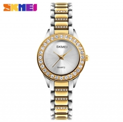 SKMEI Women Fashion Watch Stainless Steel Strap Quartz Watch Ladies Waterproof Casual Wristwatch Gold 22cm