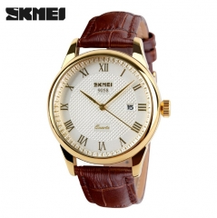 SKMEI Fashion Men/Women Watch British Style Business Watch  Quartz Sport  Waterproof Wristwatch Brown+Gold Women
