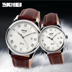 SKMEI Fashion Men/Women Watch British Style Business Watch  Quartz Sport  Waterproof Wristwatch Brown+Silver Men