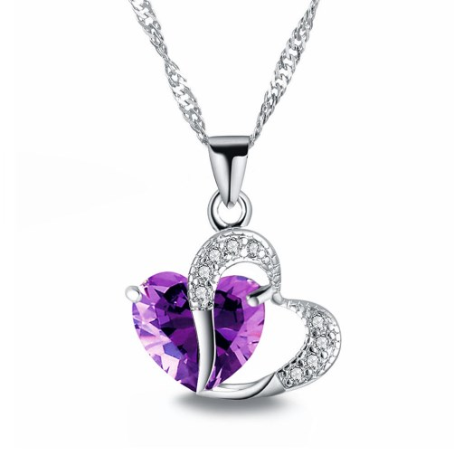 Necklaces Lady Pendants Crystal Heart Women Necklace Girls Jewelry Lovers Gift Purple 44