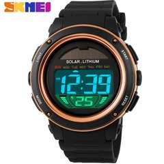 SKMEI Solar Power Outdoor Sports Watches Men Shock Digital Watch  50M Water Resistant Wristwatches gold 25