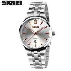 SKMEI Men Women Stainless Steel Quartz Wristwatches  Calendar Fashion Watch Waterproof Sport Watches Men Rose Gold 22cm