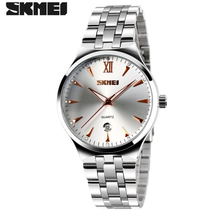 SKMEI Men Women Watch Stainless Steel Quartz Calendar Sport Quartz Watch Couple Watches Men Rose Gold 22cm