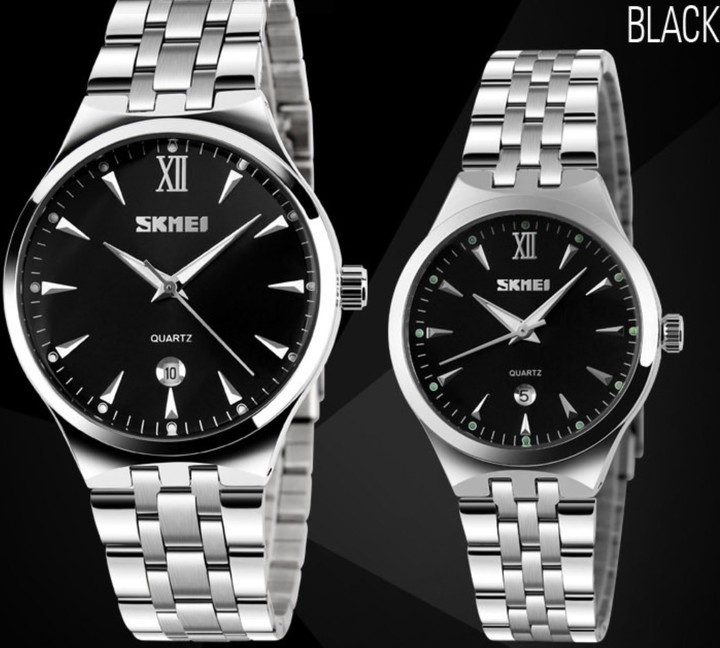 SKMEI Men Women Watch Stainless Steel Quartz Calendar Sport Quartz Watch Couple Watches Couple Black 22cm