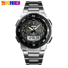 SKMEI Watch Men Fashion Sport Quartz Clock Mens Watches  Luxury Full Steel Business Waterproof Watch silver 25