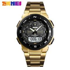 SKMEI Watch Men Fashion Sport Quartz Clock Mens Watches  Luxury Full Steel Business Waterproof Watch gold 25