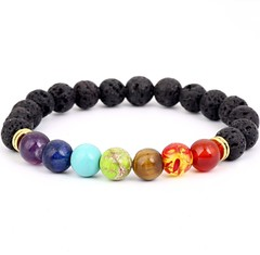 Men/Women Bracelets Natural Stone Bracelet Black Lava Healing Balance Beads Prayer Yoga Bracelet as picture one size