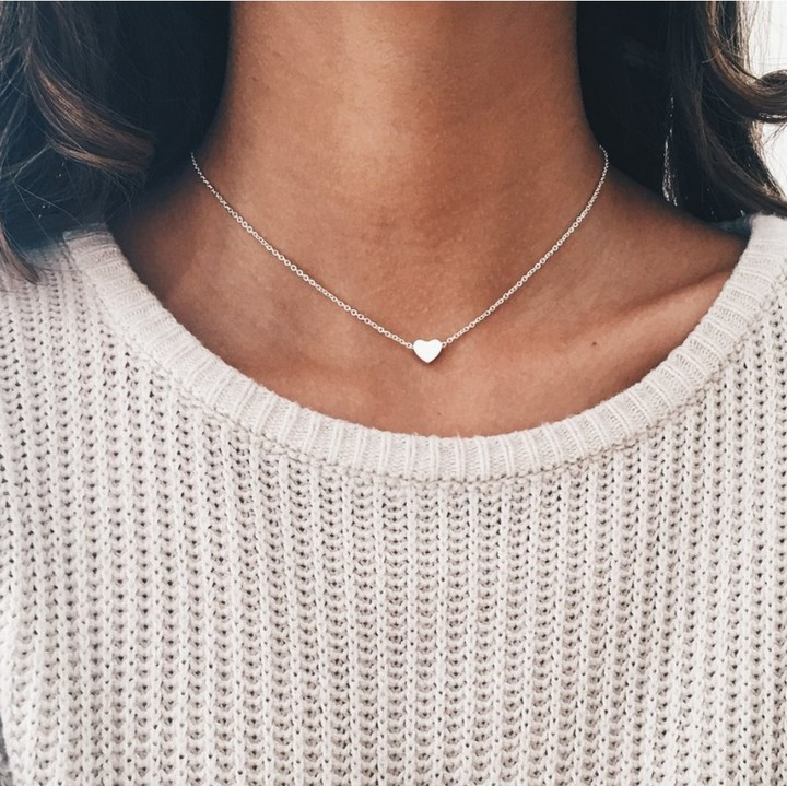 Women Necklace Tiny Heart Choker Chain Love Necklace Pendant Jewelry Lover Gift silver 44