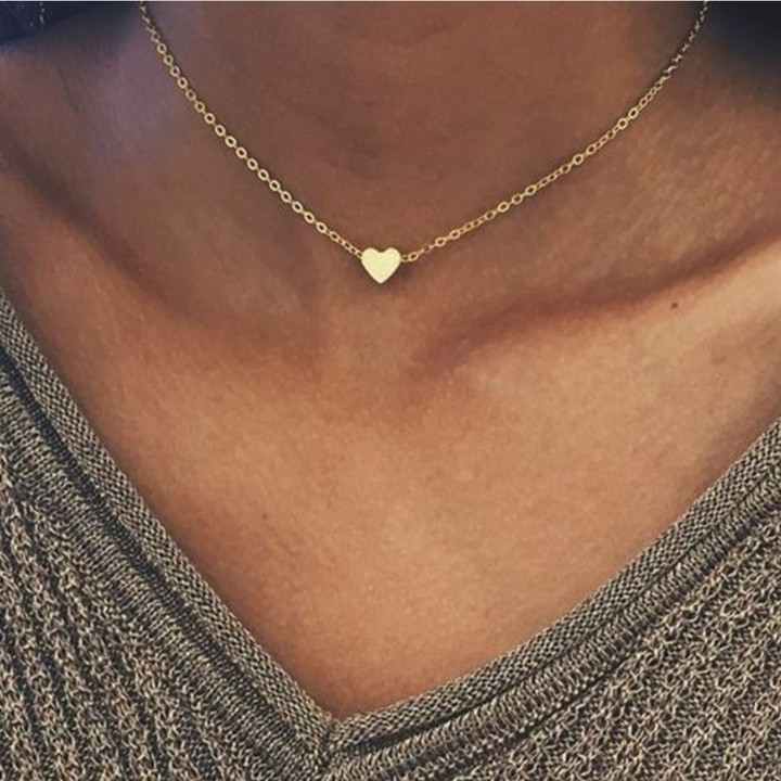 Women Necklace Tiny Heart Choker Chain Love Necklace Pendant Jewelry Lover Gift gold 44