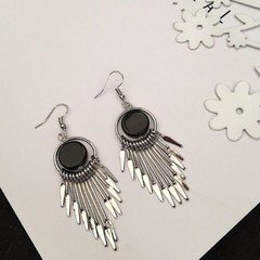 Women Earrings Lady Female Wild Tassel Earrings Jewelry Lover Gift silver one size